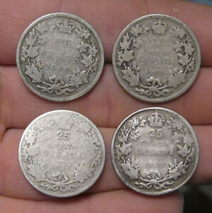 CANADA    4  SILVER 25 CENTS  1900 1913