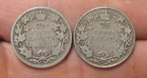 CANADA    2  KEY DATE SILVER 25 CENTS  1904 & 1915