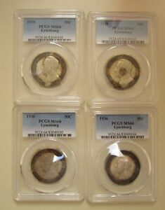 Click now to see the BUY IT NOW Price! 1936 LYNCHBURG HALF'S  ORIGINAL SET PCGS 65 66 66 66.