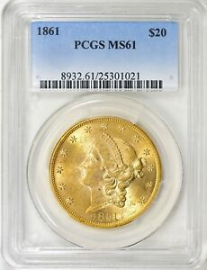 Click now to see the BUY IT NOW Price! 1861 $20 PRIZED CIVIL WAR TYPE 1 PCGS MS 61 GOLD LIBERTY HEAD FAB UNCIRCULATED