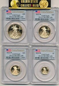 Click now to see the BUY IT NOW Price! 2013 W 4 COIN PROOF GOLD EAGLE SET PCGS FIRST STRIKE  FLAG  LABEL  SET