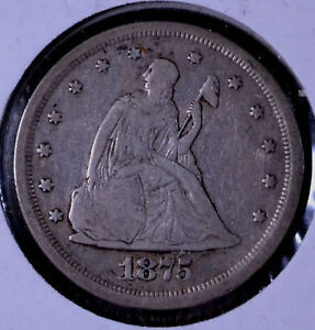 ERROR 1875 S/S 20C SEATED LIBERTY TWENTY CENT   VF