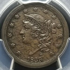 1839 LARGE CENT N 4 SILLY HEAD AU DETAILS PCGS