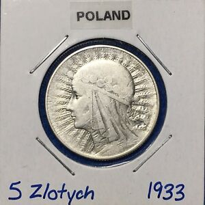 Click now to see the BUY IT NOW Price! 1933 POLAND SILVER 5 ZLOTYCH  Y 21    NICE ALL ORIGINAL COIN
