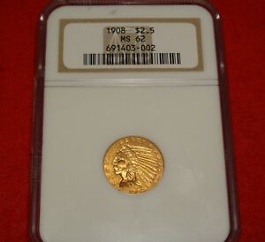 1908 $2.5 NGC MS62 UNCIRCULATED FIRST YEAR ISSUED GOLD INDIAN QUARTER EAGLE 2
