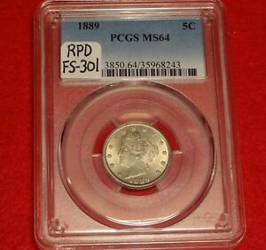 RPD FS 301 1889 5C PCGS MS64  REPUNCHED DATE LIBERTY V NICKEL ONLY 7 IN ALL