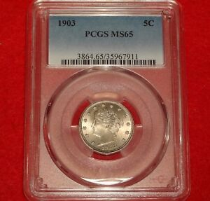 1903 5C PCGS MS65 GEM UNCIRCULATED UNC BU LIBERTY V NICKEL TYPE COIN