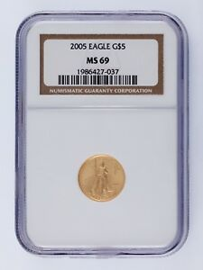 2005 G$5 GOLD AMERICAN EAGLE 1/10 OZ. GRADED BY NGC AS MS69