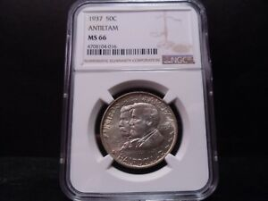 1937 MS66 ANTIETAM SILVER COMMEMORATIVE NGC CERTIFIED SUPERB GEM