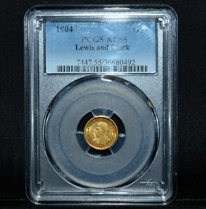 1904 $1 GOLD LEWIS & CLARK COMMEMORATIVE  PCGS AU 55  G$1 COMMEM TRUSTED