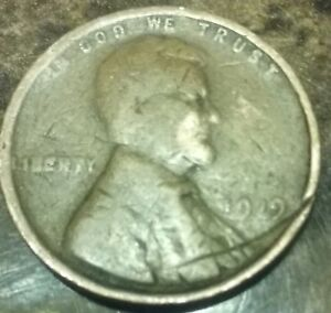 1919 LINCOLN CENT MINT ERROR STRUCK THRU WIRE