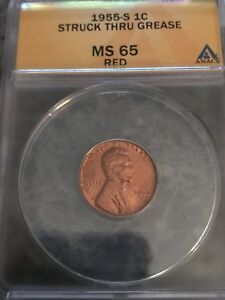 1955 S LINCOLN WHEAT CENT RED ANACS MS 65 STRUCK THROUGH GREASE ERROR.