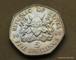 1985 REPUBLIC OF KENYA FIVE SHILLINGS  CIRCULATED AS IMAGED BAE4