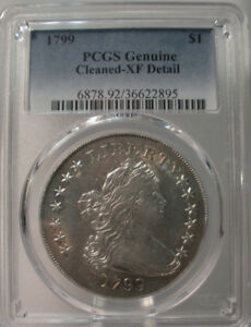Click now to see the BUY IT NOW Price! 1799 $1 UNITED STATES SILVER BUST DOLLAR PCGS GENUINE XF DETAILS CLEANED