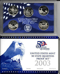 2003 S UNITED STATES MINT PROOF SET 50 STATE QUARTERS WITH BOX AND COA