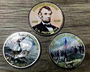 LOT OF 3 CIVIL WAR COLORIZED PAINTED HALF DOLLARS COIN COLLECTION