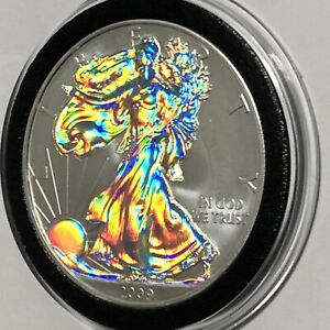 2003 ASE AMERICAN SILVER EAGLE GOLD GILDED  COLLECTIBLE COIN 1 TROY OZ .999 FINE