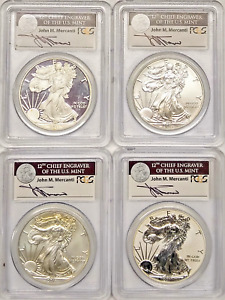 2011 SILVER EAGLE 25TH ANNIVERSARY SET FIRST STRIKE MERCANTI SIGNED ALL PCGS 70