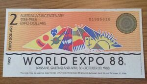 WORLD EXPO 88 BANKNOTE. 2 DOLLARS. AUSTRALIA'S BICENTENARY. 1788 1988.