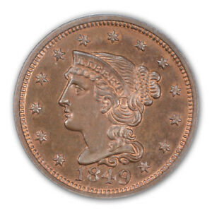 Click now to see the BUY IT NOW Price! 1849 1C NEWCOMB 18 BRAIDED HAIR CENT PCGS PR65RB  CAC