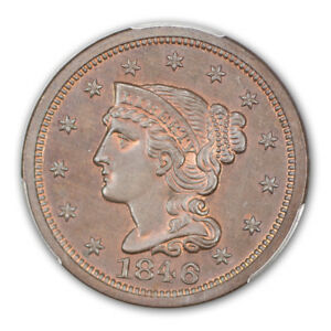 Click now to see the BUY IT NOW Price! 1846 1C SMALL DATE N 22 SMALL DATE BRAIDED HAIR CENT PCGS PR65 BN  CAC