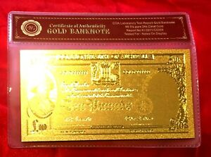 COMMONWEALTH OF AUSTRALIA 10 TEN POUND PRE DECIMAL BANKNOTE 24K GOLD LTD NOTE