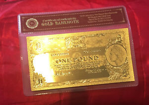 COMMONWEALTH OF AUSTRALIA 1 ONE POUND PRE DECIMAL BANKNOTE 24K GOLD LTD NOTE
