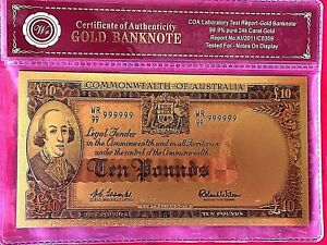 10 COMMONWEALTH OF AUSTRALIA TEN POUND PRE DECIMAL BANKNOTE 24K COLOUR GOLD
