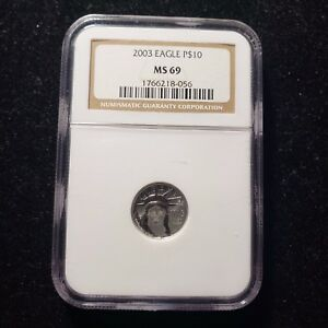 2003 NGC MS 69 AMERICAN PLATINUM EAGLE TEN DOLLARS P$10 1/10 OZ COIN NGC MS69