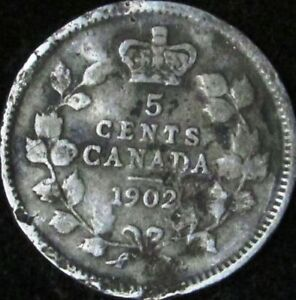 1902 VG DETAILS DAMAGED CANADA SILVER 5 CENTS   KM 9