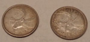 LOT OF 2 CANADIAN QUARTERS 1959 AND 1968 SILVER 80  AND 50