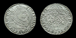 6 GROSCHEN 1627 POLAND LITHUANIA SILVER COIN