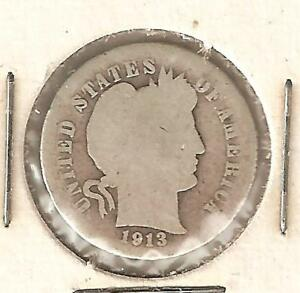 BARBER DIME  US TEN CENT PIECE MINTED IN 1913  1