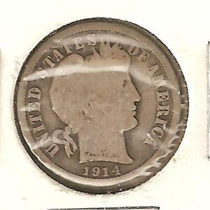 BARBER DIME  US TEN CENT PIECE MINTED IN 1914 D  1