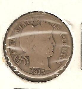 BARBER DIME  US TEN CENT PIECE MINTED IN 1915  1