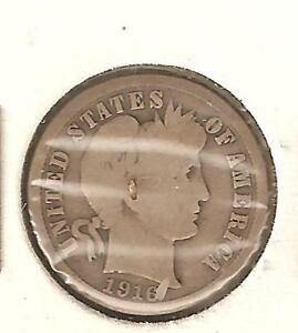 BARBER DIME  US TEN CENT PIECE MINTED IN 1916  1