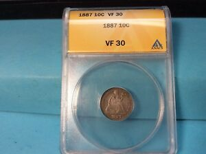 1887  LIBERTY SEATED SILVER DIME FINE ANACS VF 30 EXCELLENT DETAILS