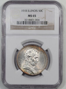 1918 ILLINOIS COMMEMORATIVE HALF DOLLAR NGC MS 65 PRETTY