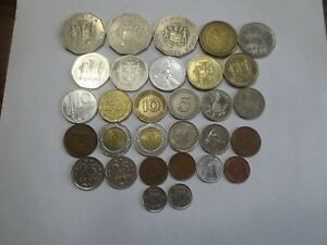 WORLD COINS   LOT OF 30 VARIETY OF COUNTRIES DENOMINATIONS CONTENTS AND SIZES