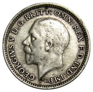 GREAT BRITAIN 3 PENCE SILVER COIN 1926 KM827 GEORGE V  A1