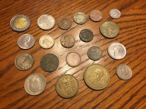 LOT OF 20 ASSORTED US & WORLD FOREIGN COINS
