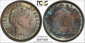 1892 10C PCGS MS66  CAC HIGH PLUS GRADE FIRST YEAR ISSUED BARBER DIME TYPE COIN