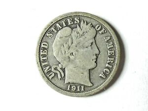1911 D BARBER DIME | CIRCULATED |  ON 3  ITEMS |  302
