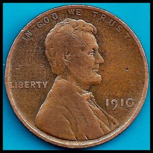 1910: BRN VG LINCOLN WHEAT CENT / 2ND YEAR MINTING