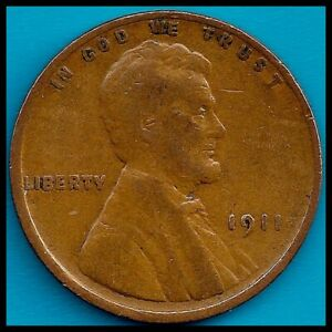 1911: BRN VG LINCOLN WHEAT CENT / 3RD YEAR MINTING