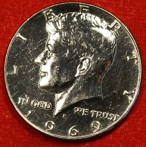 1969 D 50C KENNEDY HALF DOLLAR BU 40  SILVER COIN CHECK OUT STORE KH90