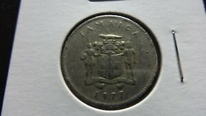 JAMAICA  1977  10 CENT  BUTTERFLY WITHIN LEAFY SPRIGS  COIN