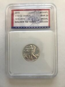 2015 1/10OZ SILVER EAGLE WALKER 100 YEARS IGS MS69