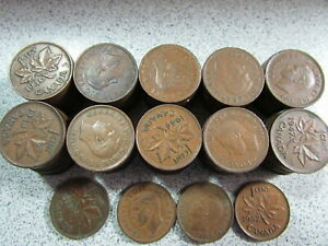 CANADA 1 CENT COPPER 104 ASSORTED KING GEORGE VI CENTS
