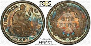 1891 AU58 PCGS   SEATED LIBERTY DIME 10C    ROTATED DIE ERROR